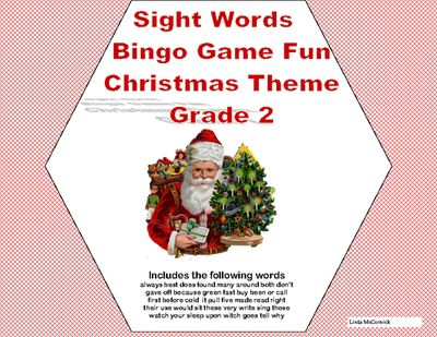 Christmas Bingo Game Fun- Sight Words for Grade 2 from Mrs. Mc's Shop on TeachersNotebook.com -  - What a fun-filled way to review Grade 2 Sight Words. This colorful Christmas Themed Bingo game can be printed on heavy cardstock and laminated to make a lasting reusable game.