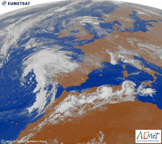 Imagen de la zona de Europa y Norte de África del canal infrarrojo del satélite Meteosat-9, procesada para darle color.martes, 16 septiembre 2014 a las 02:00