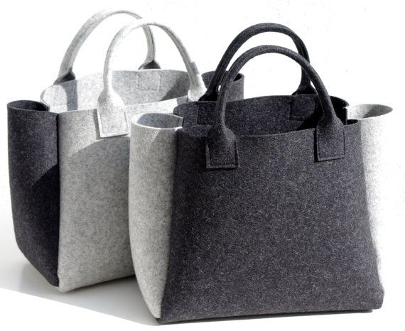 Felt Shopper Gray Bag Felt Handbag Shopping Bag Gray by WeltinFelt