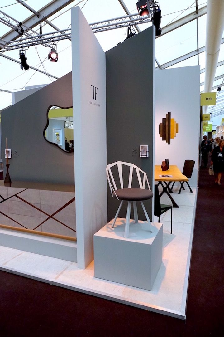 Architectural edges at our 2016 Decorex stand - on show here our Kite chair, Odessa cabinet and you can just about see the Exe table and chair