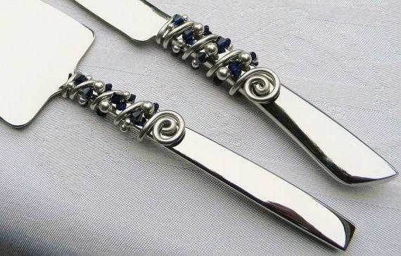 ÉLÉGANT couteau à gâteau de mariage & serveur Service ensemble perles marine bleu nuit cristaux et perles de SWAROVSKI argent - personnaliser vos couleurs