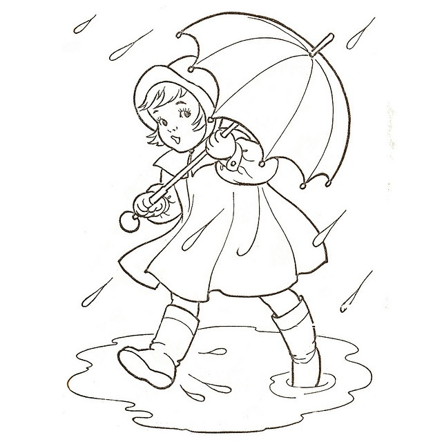 Spring Showers  Image adapted from Vintage Whitman colouring Book Published 1954  Think I want to color this!!
