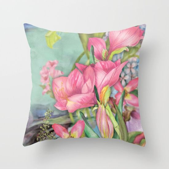 #flowers #floral #pillow #livingroomdecor #homedecor Available in different #giftideas products. Check more at society6.com/julianarw