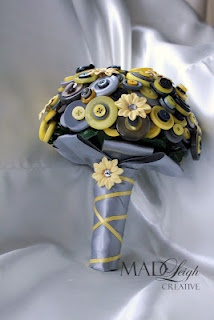 $65 Grey and yellow bouquet, featuring hand painted flowers, buttons, crystals and a lovely handle. Could be used as a bridal bouquet, placed in a jar, displayed on a shelf!65 Grey, Crafts Ideas, Bridal Bouquets, Buttons Crafts, Buttons Bouquets, Art Ideas, Yellow Bouquets, Hands Bouquets, Yellow Buttons