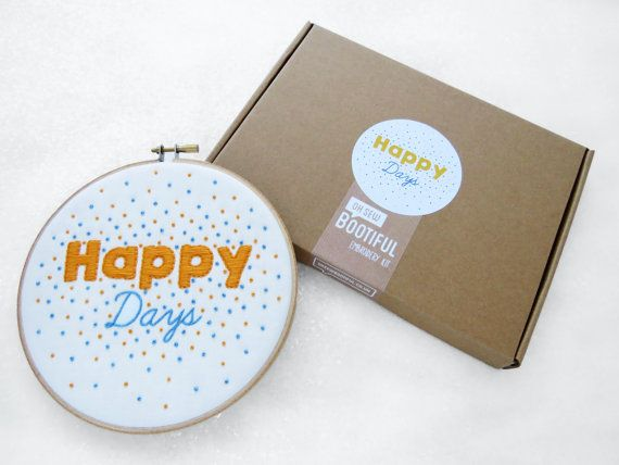 Happy Days Embroidery Kit, Complete Needlework Kit, Cheerful Phrase Hoop Art Tutorial, DIY Craft Kit, Gift For Crafter, DIY Wall Hanging.