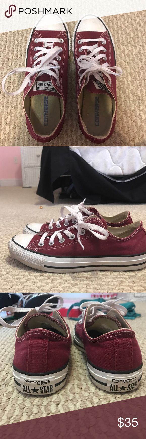 Converse Burgundy converse, lightly worn, slight scuff on the front, size 8 for women, 6 for men, low top Converse Shoes Sneakers