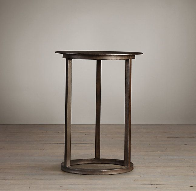 RHu0026 Mercer Round Side Table:A Design From The Late Century, Our Modernist  Metal Table Has The Pared Down Aesthetic Of The Industrial Original.