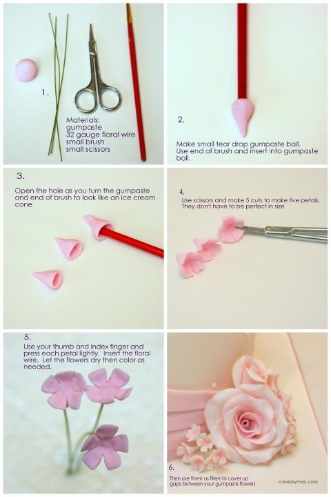 Filler Flowers Tutorial - gum paste but applicable to PC. Fascinated by how the scissors are used. #Polymer #Clay #Tutorials