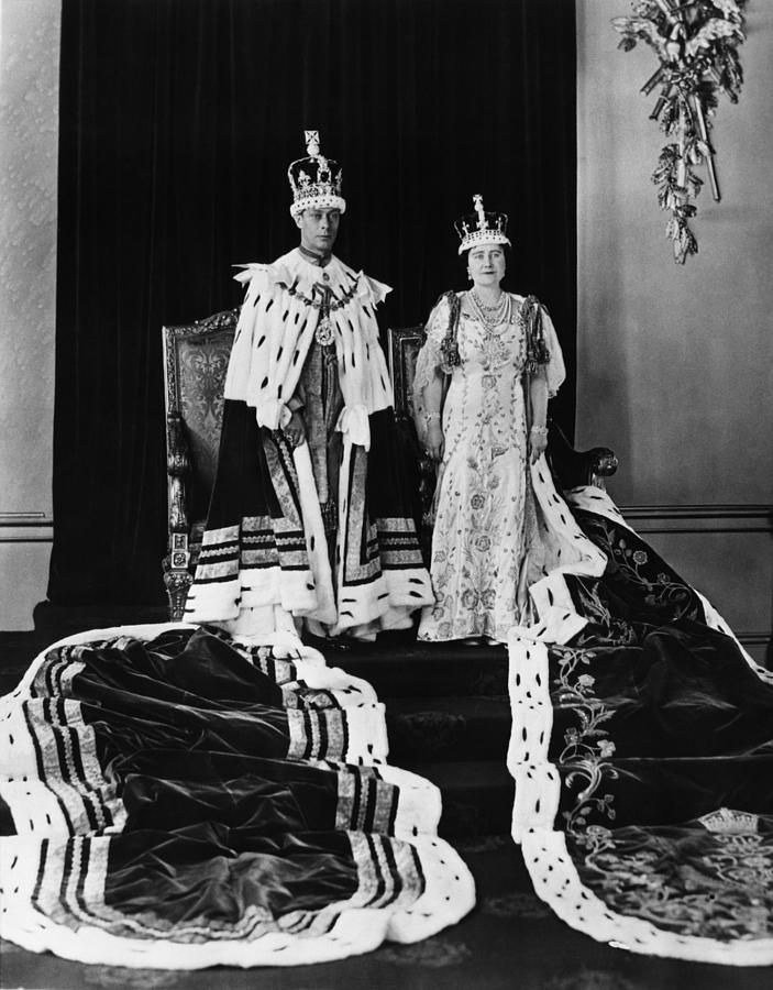 King George VI and Queen Elizabeth (who was later known as Queen Elizabeth, the Queen Mother) - in Coronation robes, c.1936