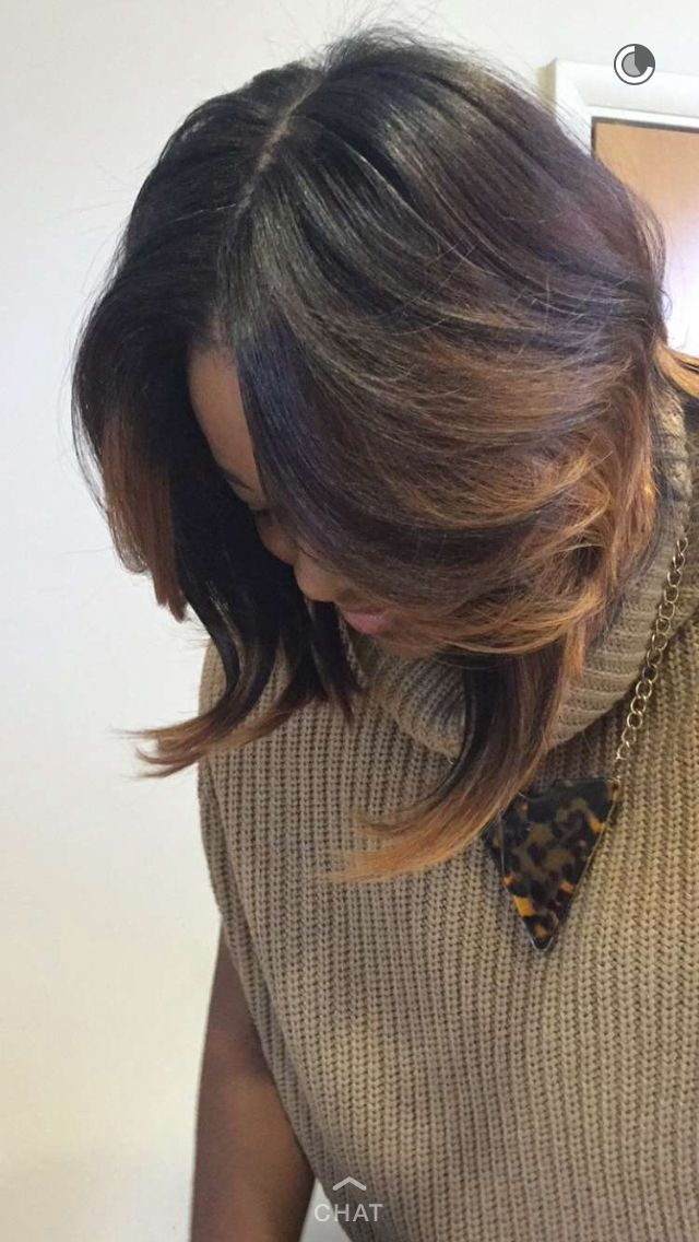 My hair done by Maggie Fitts #Quickweave #Bob #SAGA Brazilian Hair InstaGram is @_fittshair Love her ... Excellent cut very cute and easy to maintain!!!!!