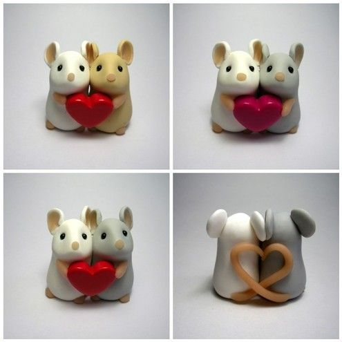 mice, mouse, clay, hearts, tails entwined into a heart and the two hold one heart in their paws.... sweet