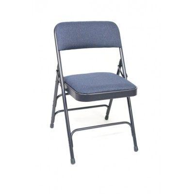 Premium Fabric Upholstered Steel Folding Chair  Double Hinge/Triple U-Brace  Color: Navy Fabric