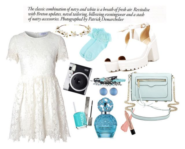 """Baby blue"" by aninditaarr on Polyvore featuring Glamorous, Cult Gaia, Fuji, Alexis Bittar, Burberry, Essie, Marc Jacobs, Rebecca Minkoff, flower and fashionWeek"