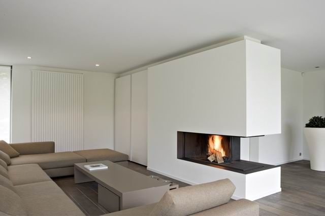Contemporary 3 sided fireplace wood burning open hearth for Open sided fireplace