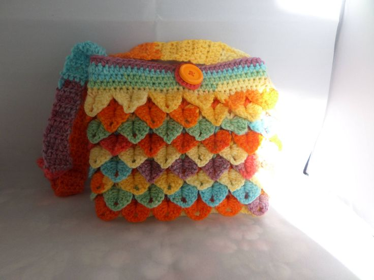 Little girls bag, girls shoulder bag, hand crochet bag, crocodile stitch. fully lined bag, 7 x 6 inches, handle 24 inches, bright pastel by MaddisonsRainbow on Etsy