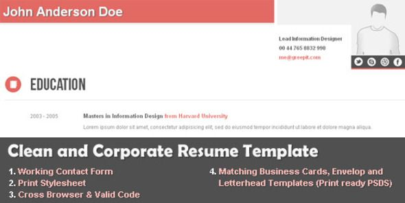 """Clean and Corporate CV / Resume HTML Template   http://themeforest.net/item/clean-and-corporate-cv-resume-html-template/406898?ref=damiamio       This clean and corporate CV / resume HTML template will help you set up a professional online CV in minutes and increases your chances of finding a suitable job and getting new businesses.  Clean Resume Features   Intuitive and clean design  Working contact form  """"Go Green"""" print stylesheet  Perfect for those professionals who need an online…"""