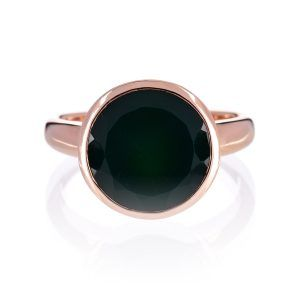 Manhatten Rose Gold Green Onyx Cocktail Ring