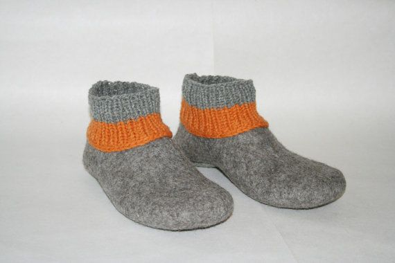 Felted men slippers felted wool slippers Men от KadabrosFelt