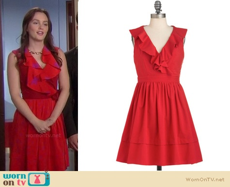 Blair's exact red dress with ruffles from the final episode of Gossip Girl is no longer available but ModCloth have this one (pictured) for $84.99