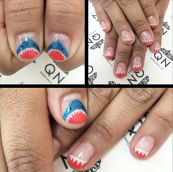10 Terrifyingly Cool Shark Week Nail Art Looks: We live for any holiday that gives us an excuse to go all out on our nails —Independence Day, St. Patrick's Day, Valentine's Day, the list goes on — but a whole week is really worth commemorating on your claws.