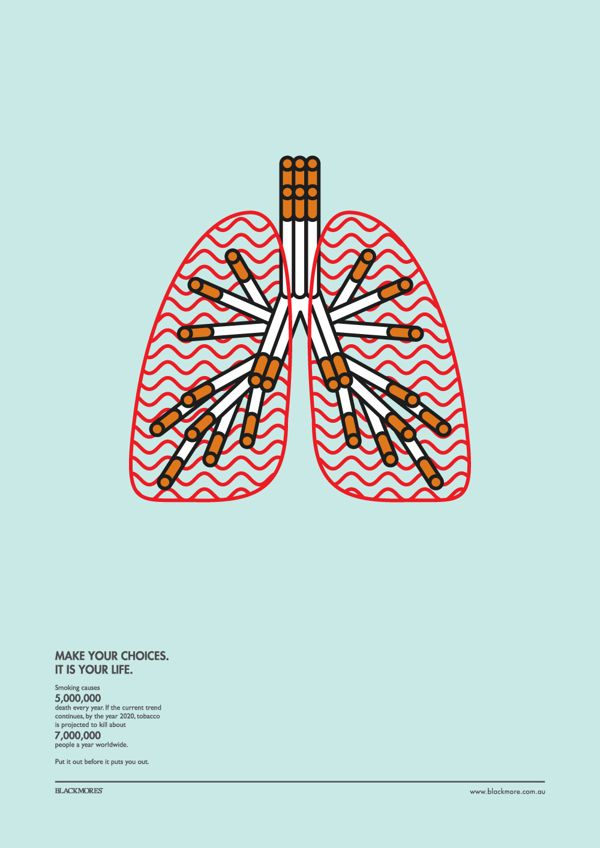 Attractive Infographic Uses Simple Images & Facts To Promote Anti-Smoking Cause - DesignTAXI.com