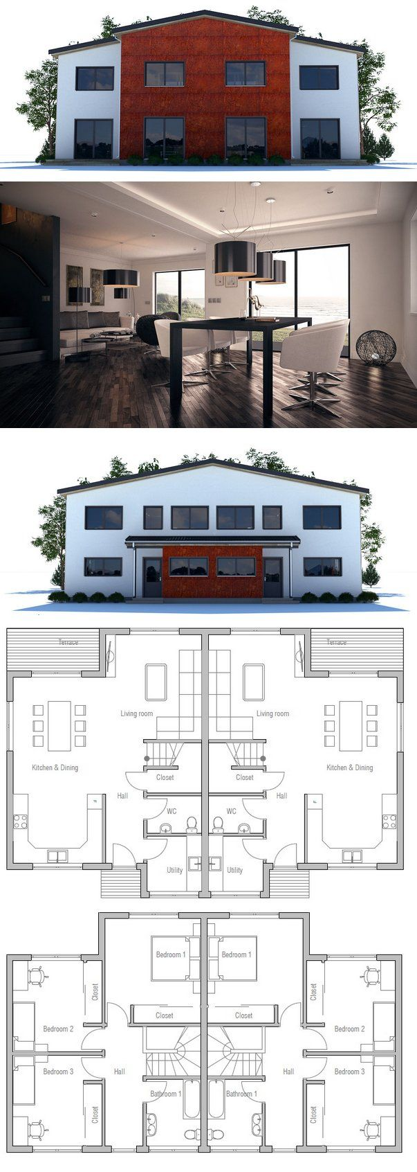 Célèbre 45 best Duplex House Plans images on Pinterest | Duplex house  IO47