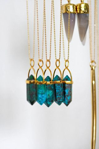 CHRYSOCOLLA point necklace   kei jewelry