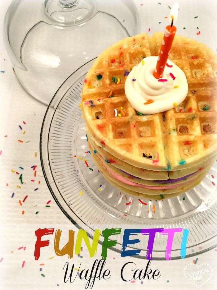 Make a FUN Funfetti cake mix waffle cake this year...kids love this unique Birthday cake idea!!