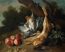 Still Life with Dead Game and Peaches in a Landscape - Jean-Baptiste Oudry