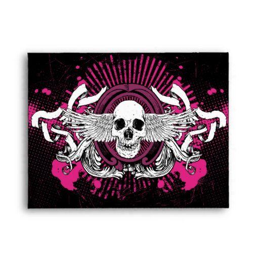 A2 Black & Hot Pink Grunge Winged Skull Envelopes