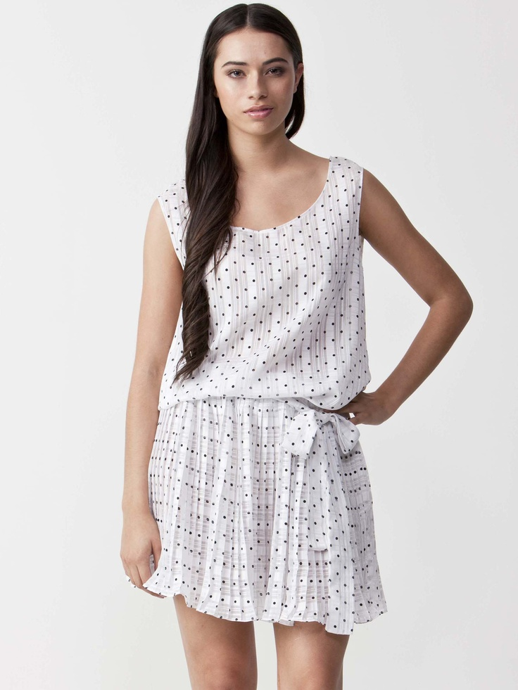 Georgina - Polka Dot Summer Dress with round neckline.  Pleated skirt with lace tie waistline.  Sleeveless styling with regular fit cut. $72.60