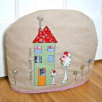 Home sweet home. Tea cosy handmade by me (evajeanie) using modern and vintage fabrics