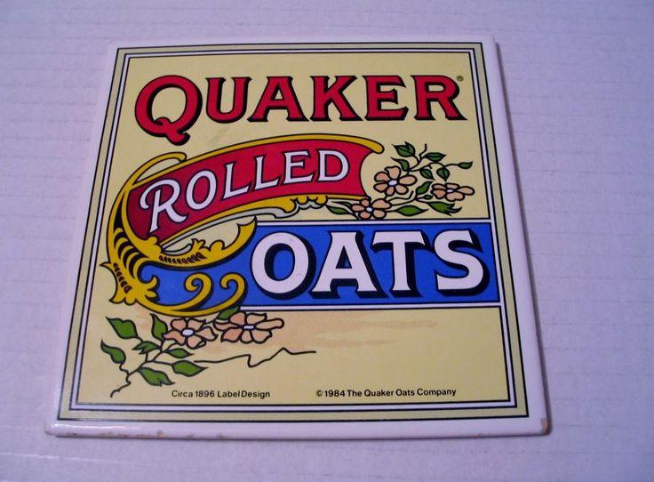 Quaker Rolled Oats Decorative Tile Trivet Copy of Circa 1896 Label Design Advert…