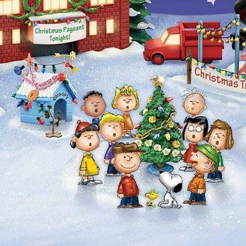 Christmas.   (no words)   --Peanuts Gang/Snoopy, Woodstock, Charlie Brown, et al.