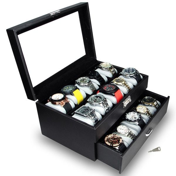 Ikee Design Watch Display Case with Silver Key Lock