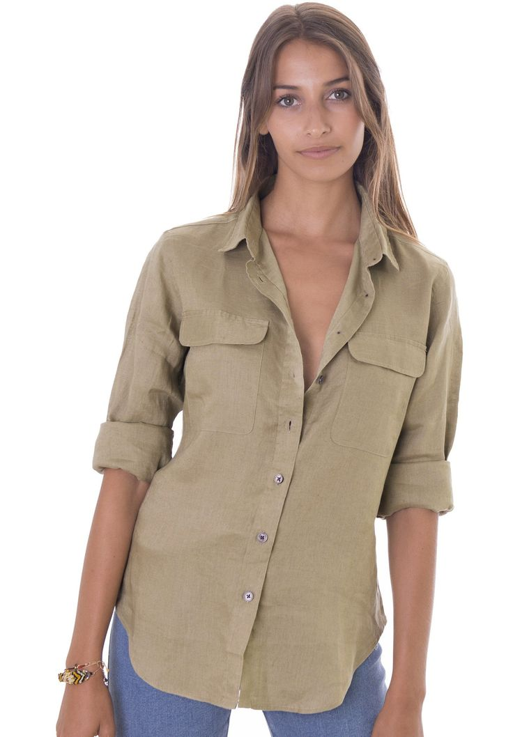 Lete Khaki, Relaxed Linen Shirt with Pockets – CAMIXA Shirts