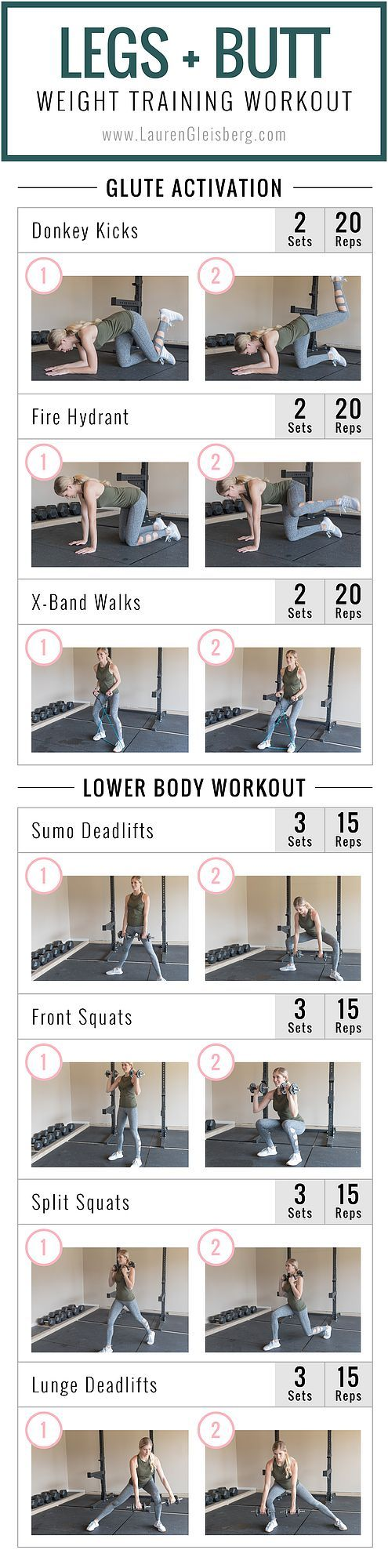 A traditional leg day workout featuring my signature glute activation followed by a lower body weight training workout. If you want to activate the glute muscles, it's very important to warm them up.