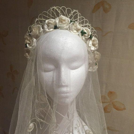 jaren 1950 vintage bruids tiara zendspoel van vintagecaf op Etsy