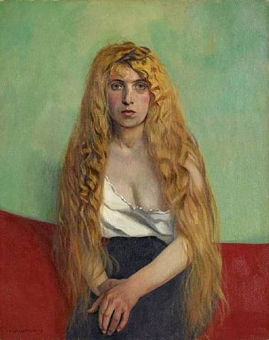 La Chevelure blonde by Félix Edouard Vallotton (Swiss, 1865–1925)  WORK DATE:  1915  MATERIALS: Oil on canvas  SIZE: h: 36.2 x w: 28.8 in / h: 91.9 x w: 73.2 cm