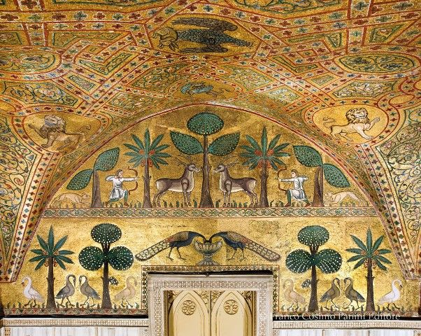 Byzantine art in the room of King Roger in the Norman Palace in Palermo http://www.dreamsicilyvillas.com/guide/sicilian-cities/palermo/