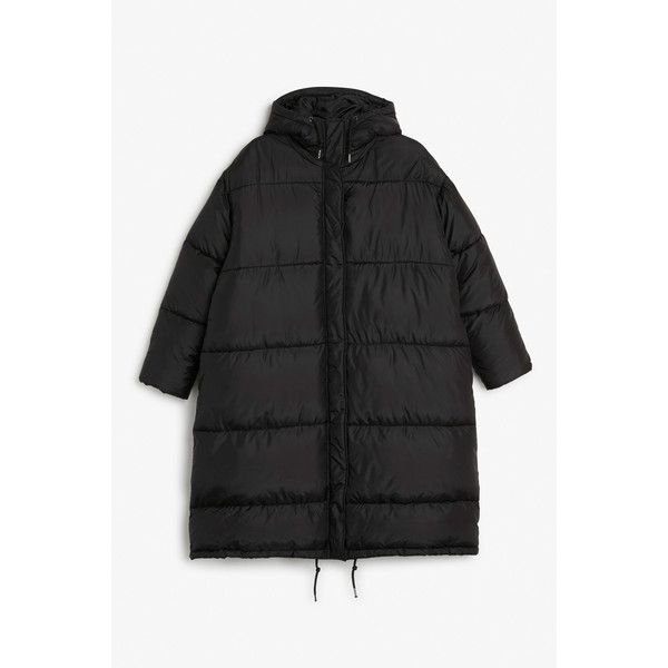 Monki NEW! Long puff coat ($96) ❤ liked on Polyvore featuring outerwear, coats, black magic, monki, puff coat, long puff coats, long puffer coat and puffer coat