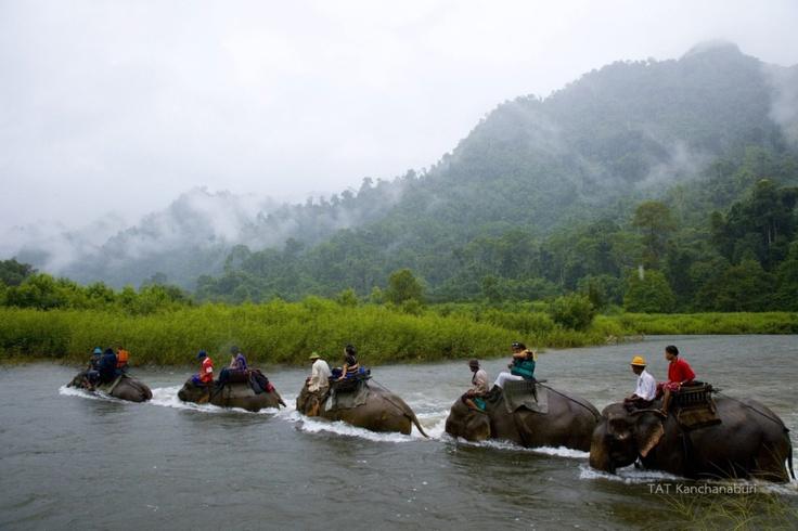 Elephant Riding in Sangkhlaburi, Kanchanaburi THAILAND