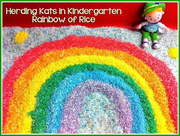 leprechaun fun rainbow rice sensory table