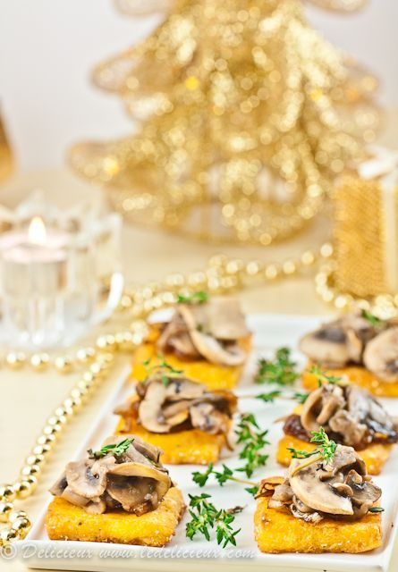 Looking for a fantastic make-ahead vegetarian canape for your next dinner party? Look not further than my Mushroom and Caramelised Onion Polenta Squares. Want to make them vegan? Swap the cheese for nutritional yeast for a fantastic vegan-friendly canape. | deliciouseveryday.com