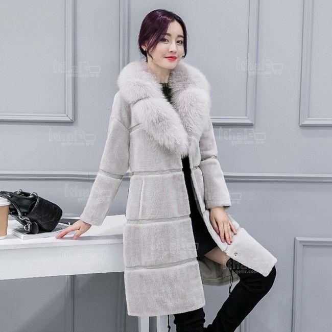 Haining Kürk Yüksek Kaliteli Malzemelerden Üretim Kadın Uzun Kürklü Mont Modelleri - 571571 - 20-1
