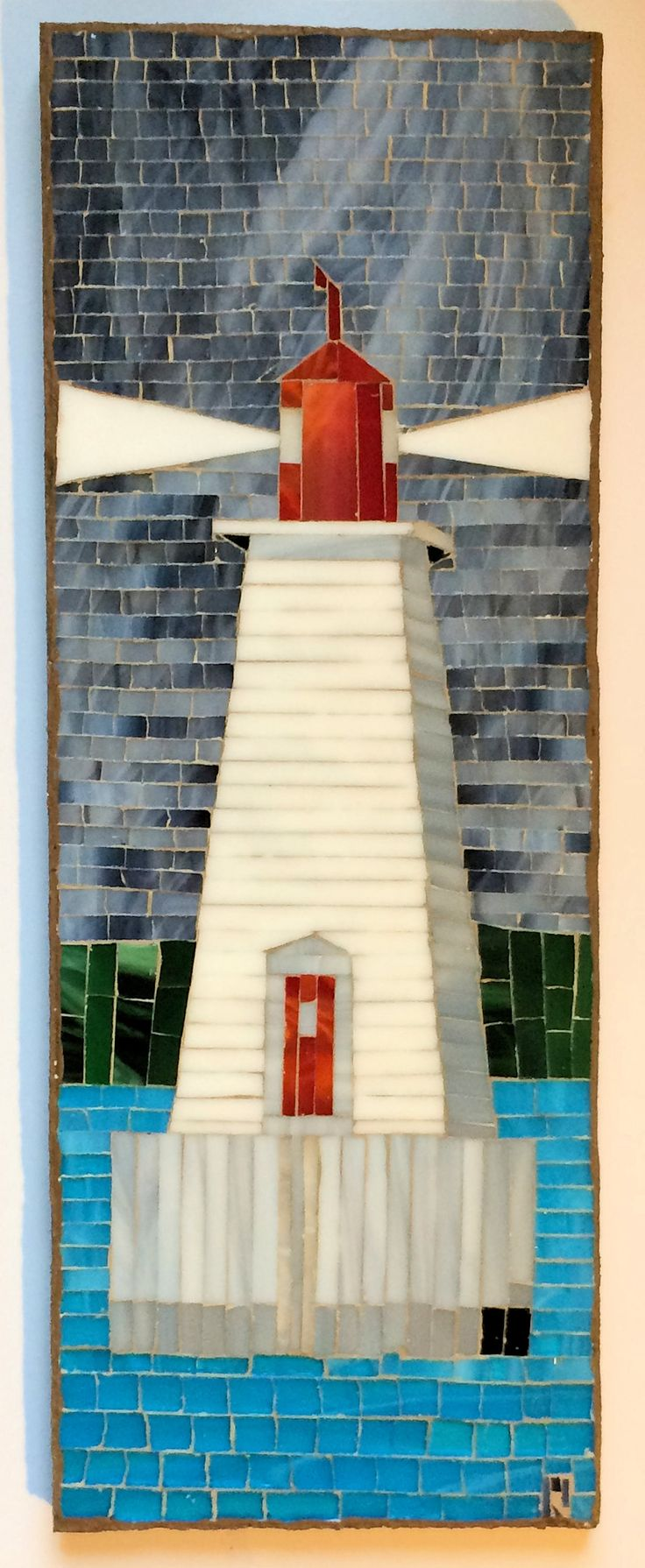 Sandy Point Lighthouse Mosaic 1011 by LachanceGlassMosaic on Etsy