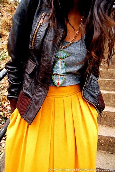cool jacket. yellow long skirt. cute neck-less. grey shirt. awesome!