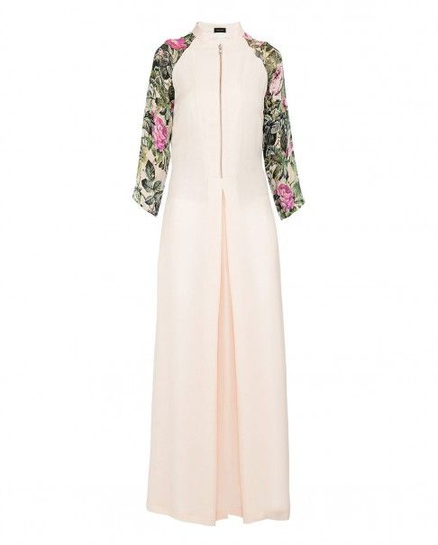 Blush Peach Tunic with Printed Sleeves - New Arrivals