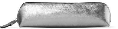 Smythson - Panama Metallic Textured-leather Pencil Case - Silver