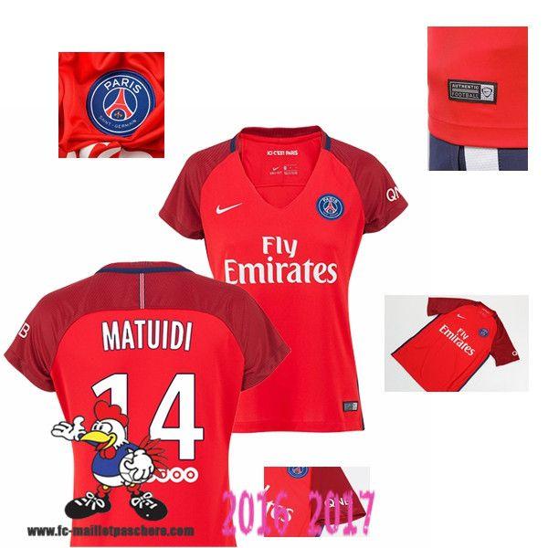Vente Nouveau Maillot Football Paris Saint-Germain Rouge Femme (MATUIDI 14)…